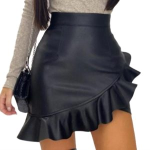 Sexy-Bodycon-Skirts-Women-Pu-Leather-Party-Skirt-Fashion-Solid-Irregular-Faux-Leather-Skirt-Female-Ruffles